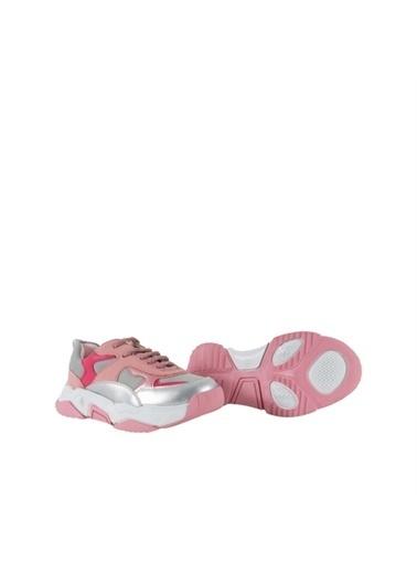 Kids A More Shaney Bağcıklı Paraşüt Kumaş Detaylı Pu Deri Kız Çocuk Sneaker  Pembe